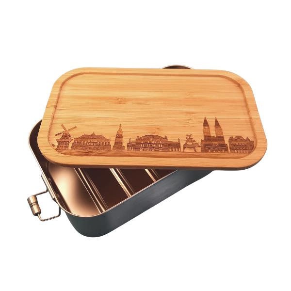 Deine Stadt auf einer Bambus / Edelstahl Lunchbox