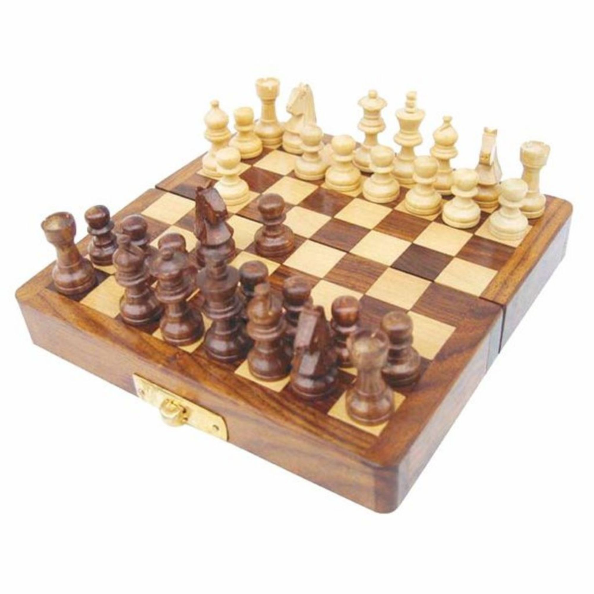 Reiseschachspiel aus Holz mit Gravur