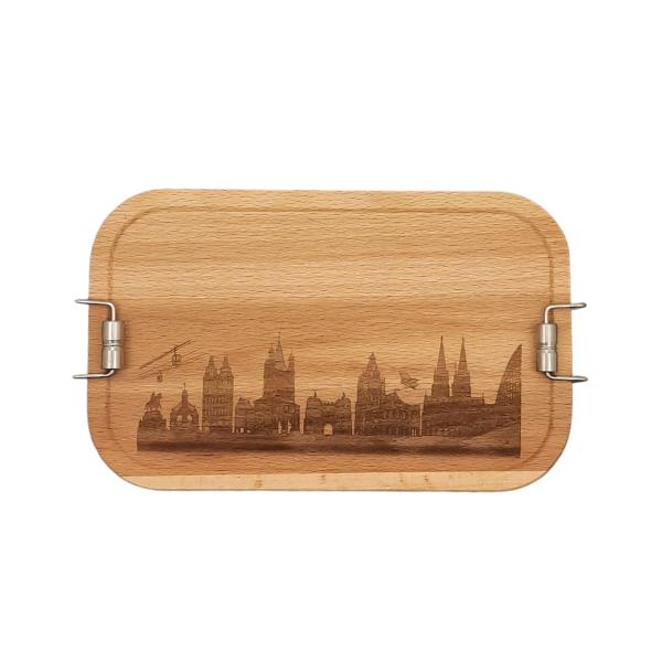 Deine Stadt auf einer Buchenholz / Edelstahl Lunchbox - Persönliches Geschenk zum Abschied