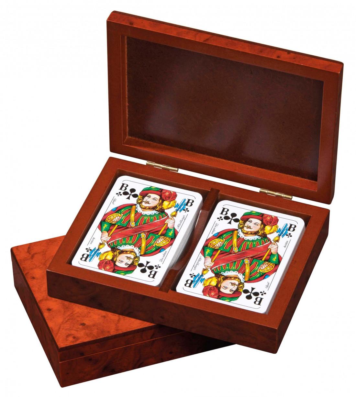 Premium Spielbox aus Holz mit Spielkarten