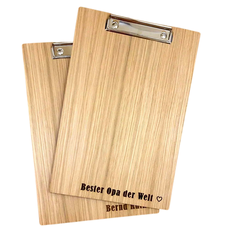 Holz-Klemmbrett mit Gravur