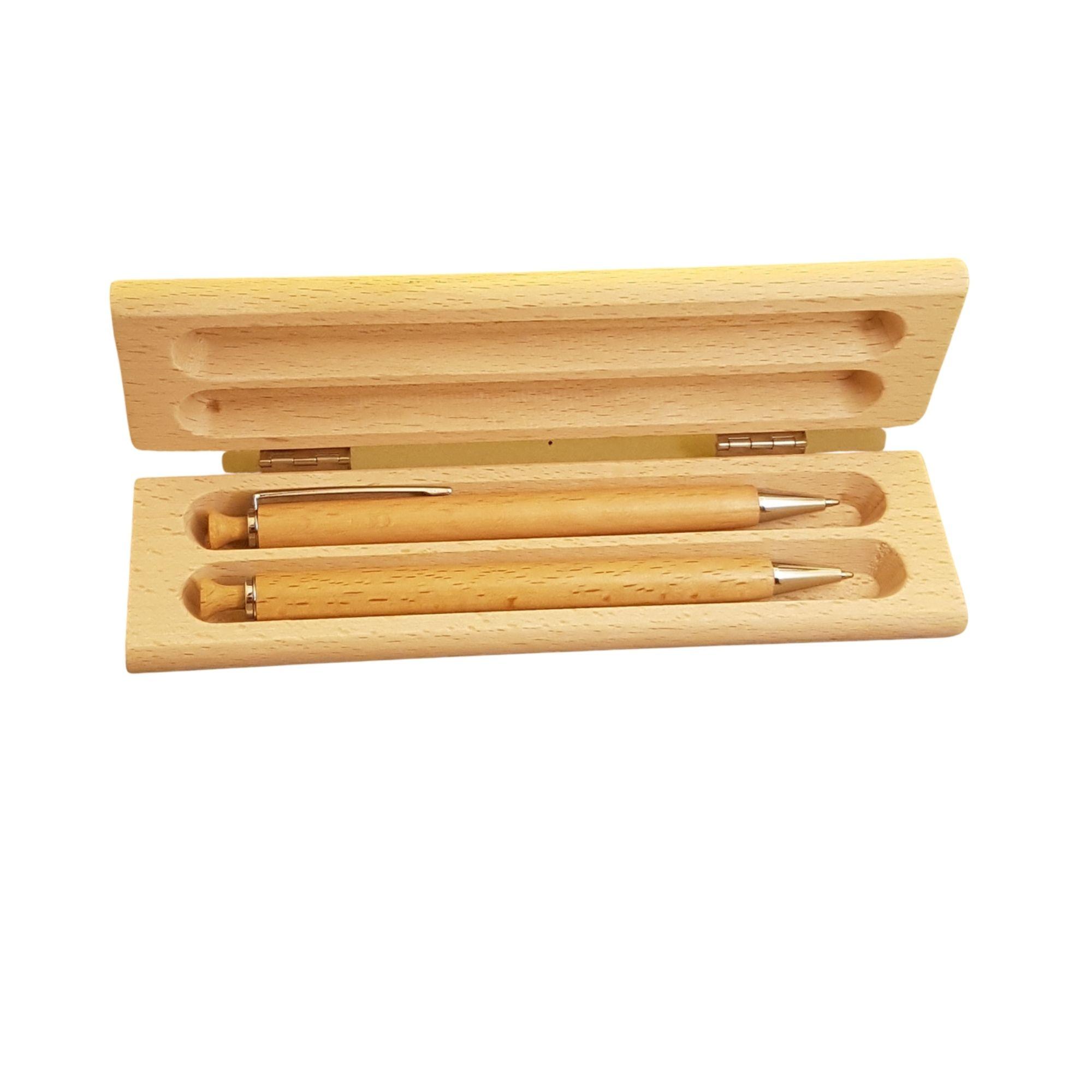 2x Holzkugelschreiber mit Gravur und Etui