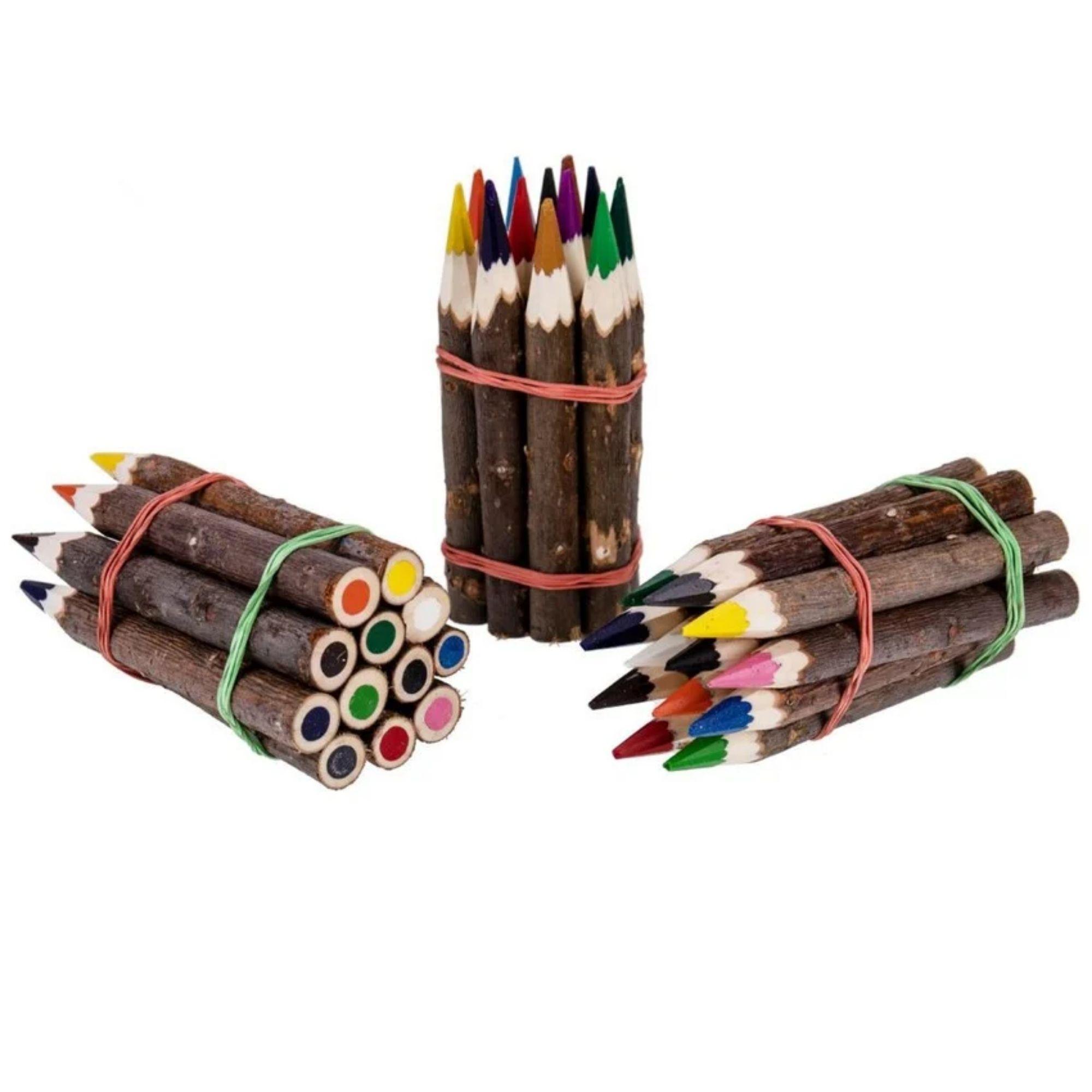 Holz Buntstifte mit Rinde - Geschenk für Kinder blanko