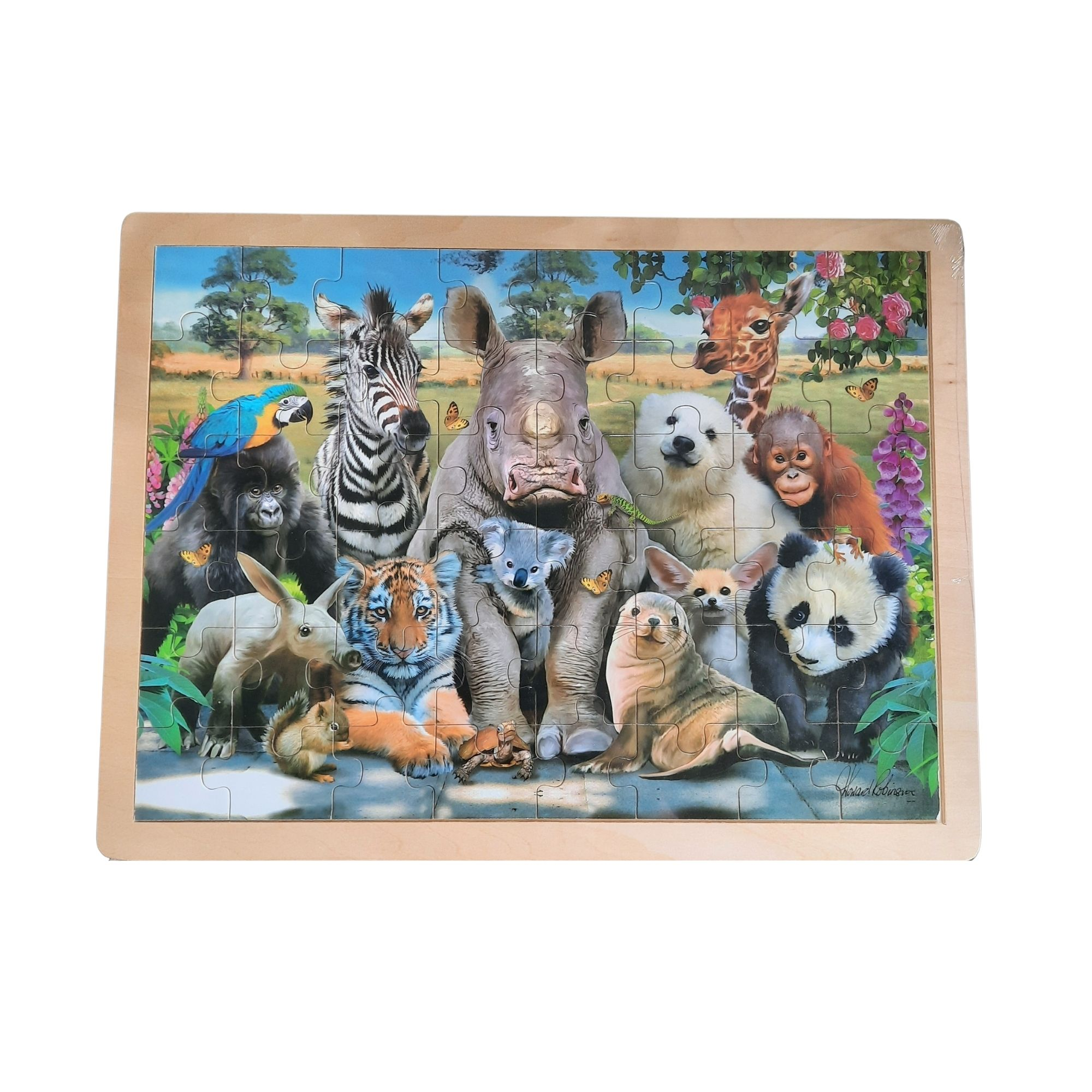 Holzpuzzle mit Tiermotiven