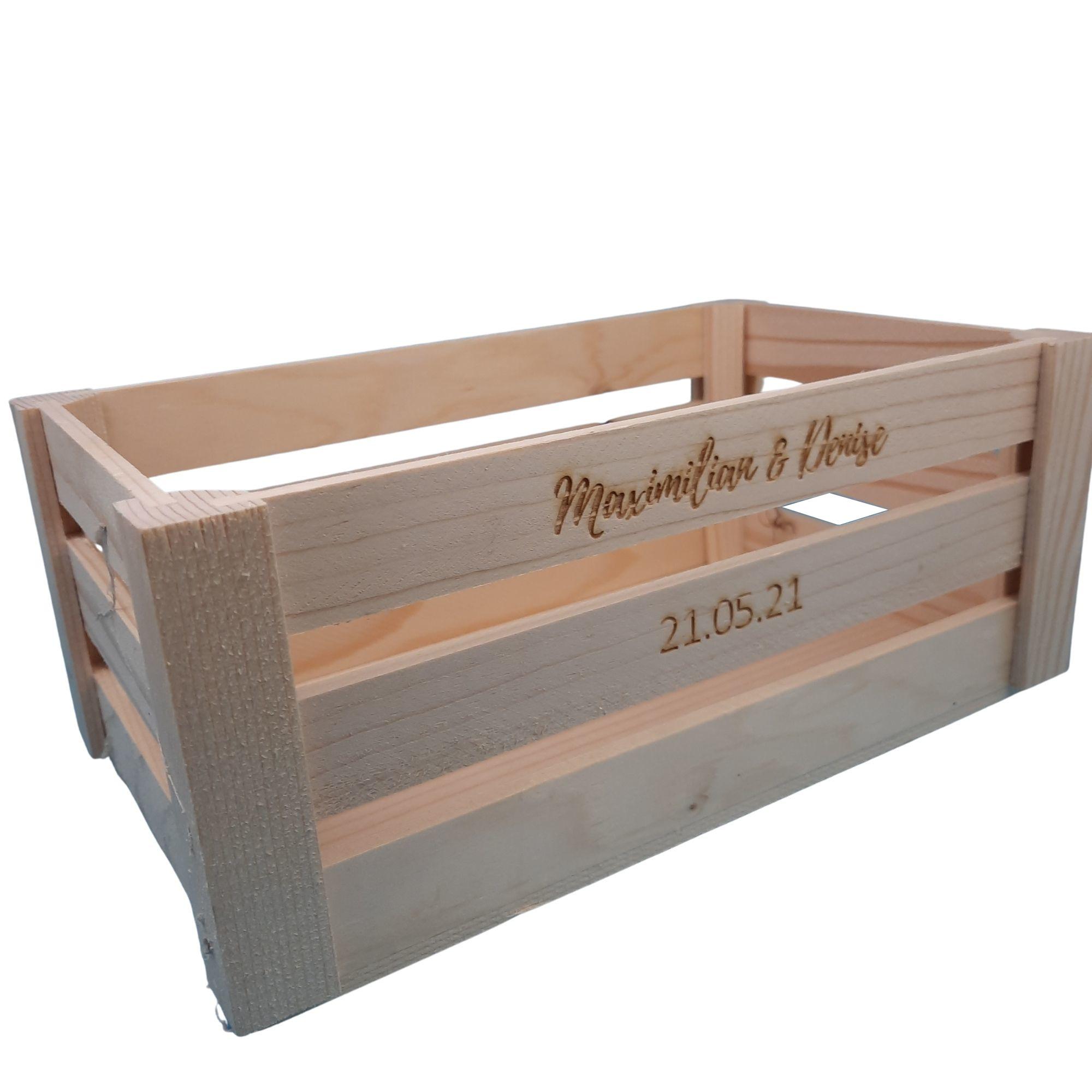 Holzbox Holzkiste Obstkiste Steige Weinkiste mit Gravur